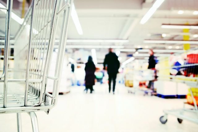 closeup of trolley in supermarket