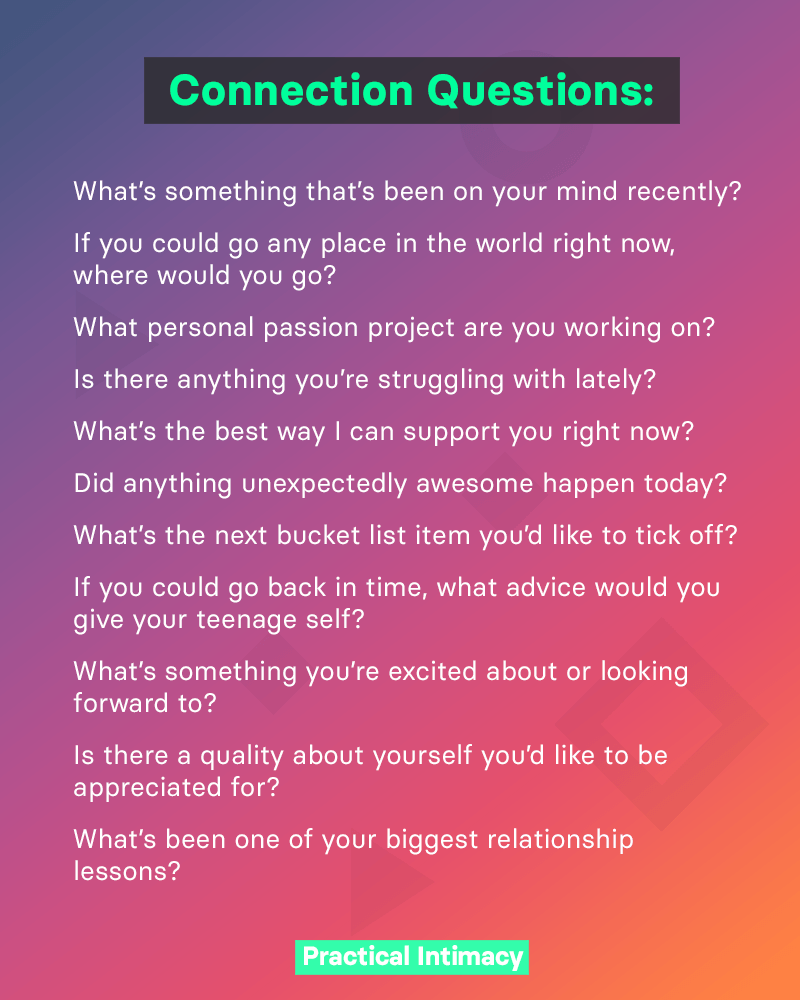 Questions to build emotional intimacy and connection